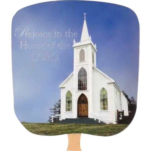 House Of The Lord - Religious - Fan With Full Color Stock Picture On Coated Front Photo