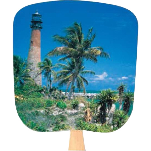 Lighthouse - Scenic - Fan With Full Color Stock Picture On Coated Front Photo
