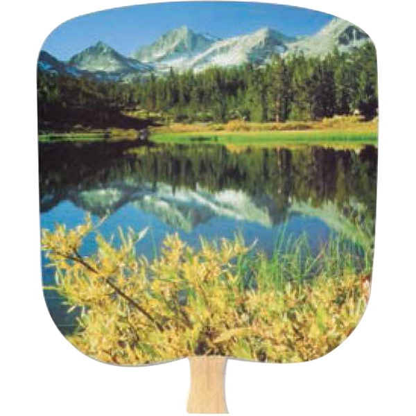 Mountain Reflection - Scenic - Fan With Full Color Stock Picture On Coated Front Photo