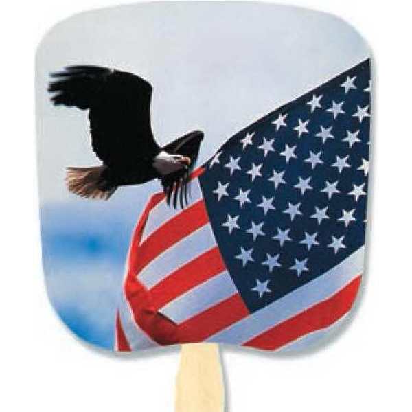 Eagle & Flag - Patriotic Fan With Four Color Process Stock Design Photo
