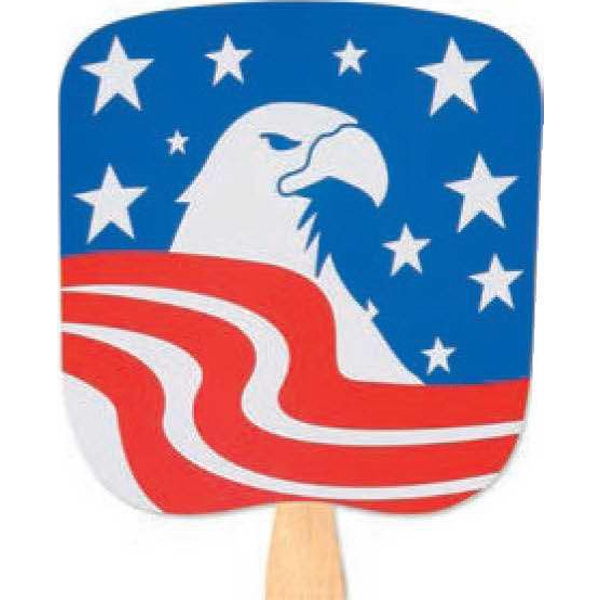Patriotic Eagle - Patriotic Fan With Four Color Process Stock Design Photo