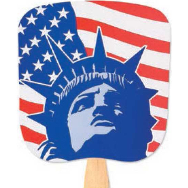 Lady Liberty - Patriotic Fan With Four Color Process Stock Design Photo