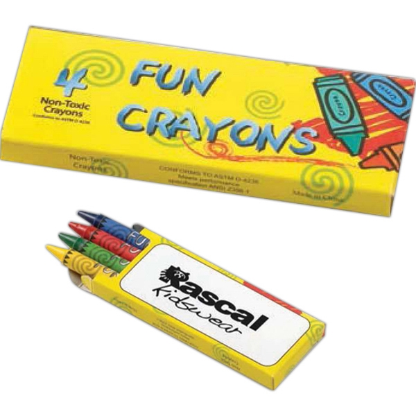 Four Non-toxic Crayons In A New Colorful Box With Large Imprint Area On One Side Photo