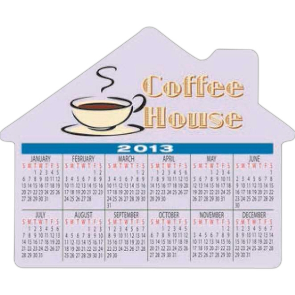 Large House Shape Stock Magnet With Calendar, 20 Mil Thickness Photo