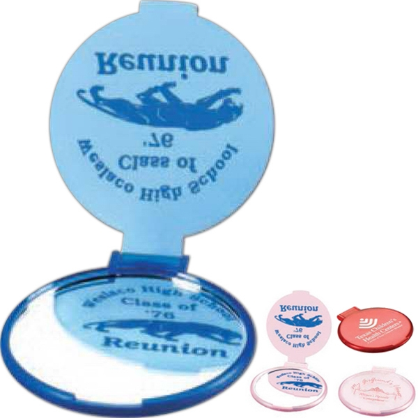 Round Shape Compact Mirror With A Flip-over Lid That Can Serve As A Stand Photo