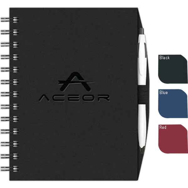"Valuebook (tm) - New Valueline 5"" X 7"" Paperboard Journal With Penport , Pen, Black Wire Binding Photo"