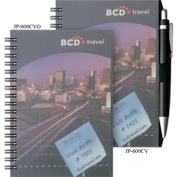 "Clearview (tm) - 4"" X 6"" Small Journal With Transparent Front Cover, Black Chip Back Cover Photo"