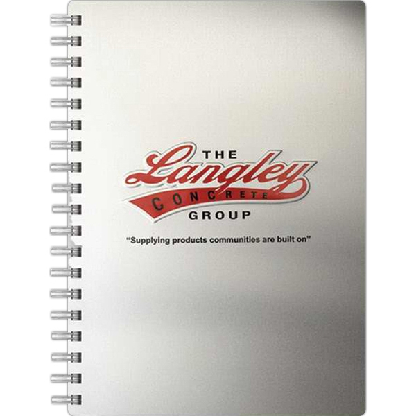 "Alloyjournal (tm) - 7"" X 10"" Medium Notebook With Silver Aluminum Front And Black Paperboard Back Cover Photo"