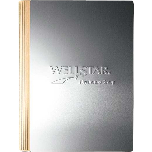 "Urbanjournal (tm) - 5.5"" X 8.5"" Refillable Journal With Aluminum Front Cover, Leahther Wraparound Back Photo"