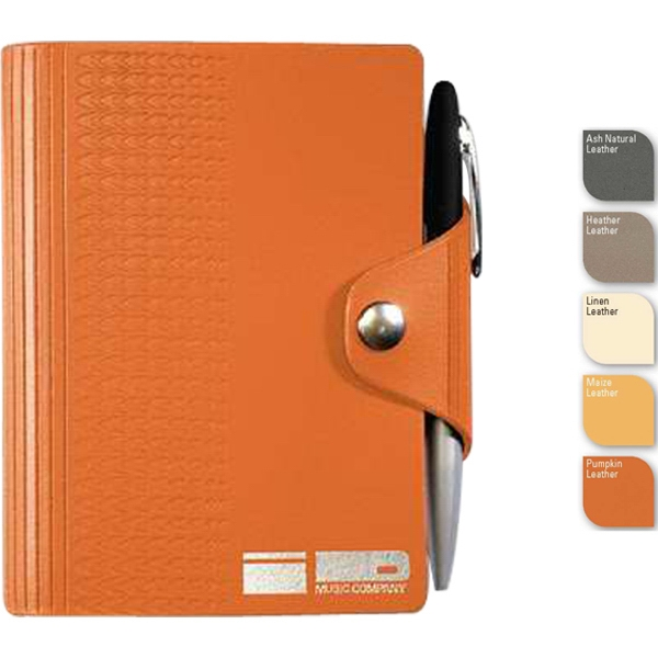 "Leatherwrap (tm) - 3.75"" X 5"" Refillable Bonded Leather Snapwrap Mini Journal, 100 Sheets Blank Paper Photo"