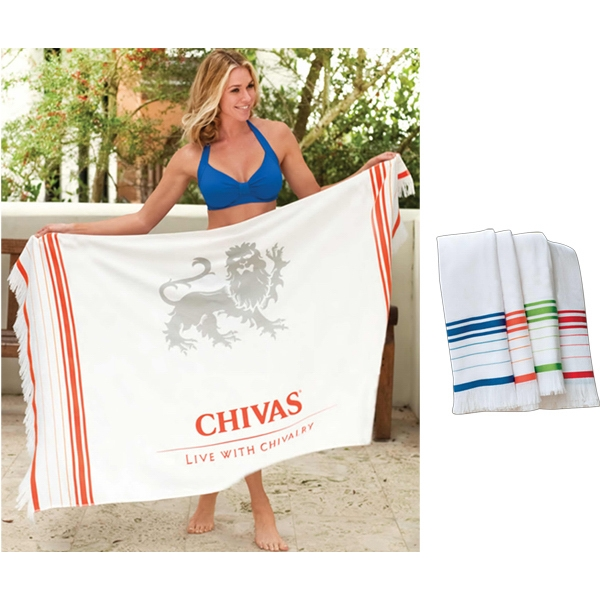 Turkish Signature (tm) - Blank Towel - Fringed Beach Towel. 100% Cotton Velour Photo