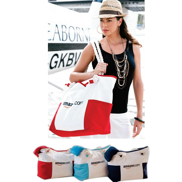 Portland Bag (tm) - Embroidered - Canvas Carry-on Bag With Comfortable, Over-sized Nautical Rope Handle Photo