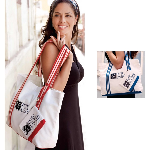 Marina Bag (tm) - Embroidered - Both Bags - Canvas Travel Bag And Coordinating Accessory Bag Photo
