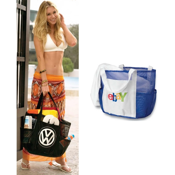 Whale Beach Bag (tm) - Embroidered - Mesh Bag With Seven Outer Pockets And Inside Snap Hook Photo