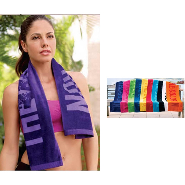 "Turkish Signature (tm) - Tone On Tone On Color Towel - 100% Cotton Terry Workout Towel. 12"" X 45"" Photo"