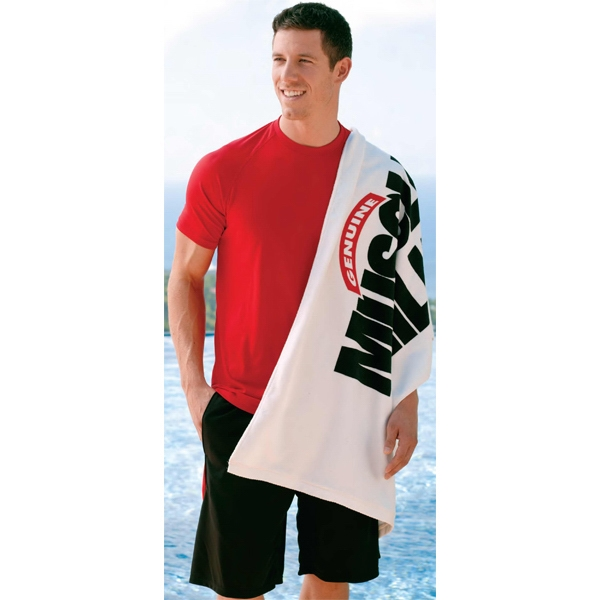 "Screenprinted - Gym Towel, White Only. 100% Cotton Terry Velour. 24"" X 48"" Photo"