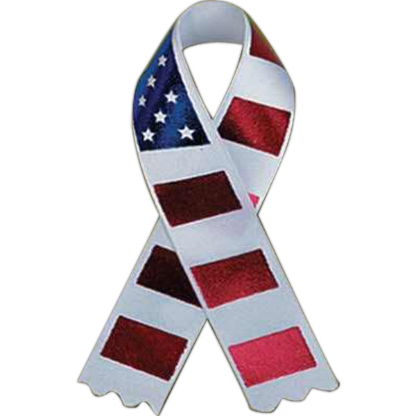 Tape Attached - Awareness Ribbon With Stars And Stripes Design Photo
