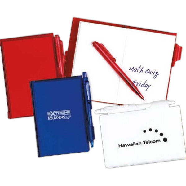 Jot-it-down - Pad With Pen. Plastic Folder With An Attached Unlined Pad. Matching Pen. Imprinted Photo