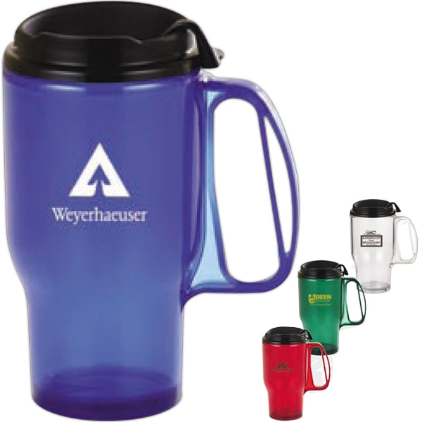 Deluxe - Bright Translucent Colored Travel Mug With Spill Resistant Closure Lid Photo