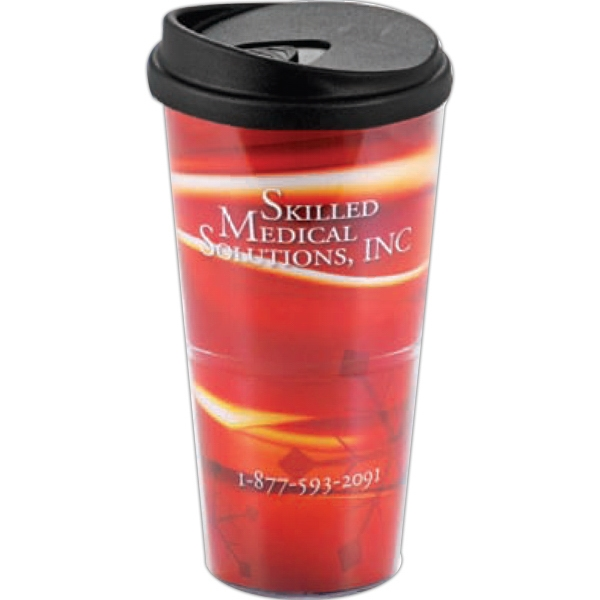 24 Oz Clear Tumbler With Paper Insert And Lid Photo