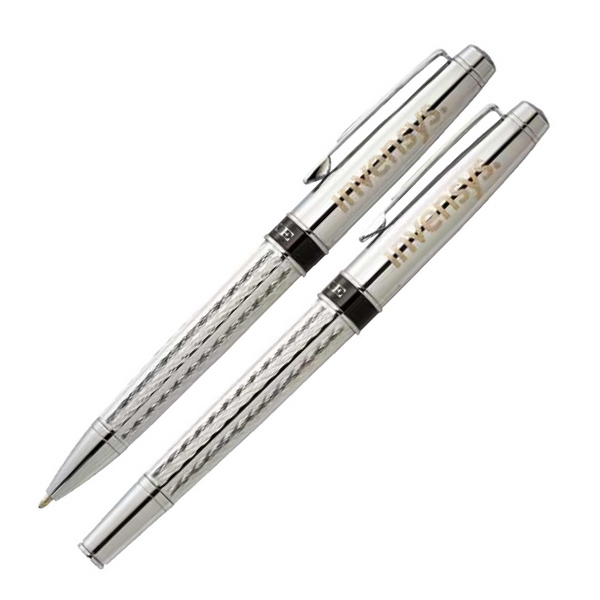 Luxe (tm) Renegade (r) - Pen Set Made Of Brass With Intricate Diamond Etched Pattern Photo