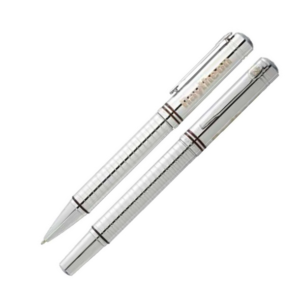 Cutter & Buck (r) - Brass Pen Set With Intricate Cross-cross Cut Detailing On Lower Barrel Photo