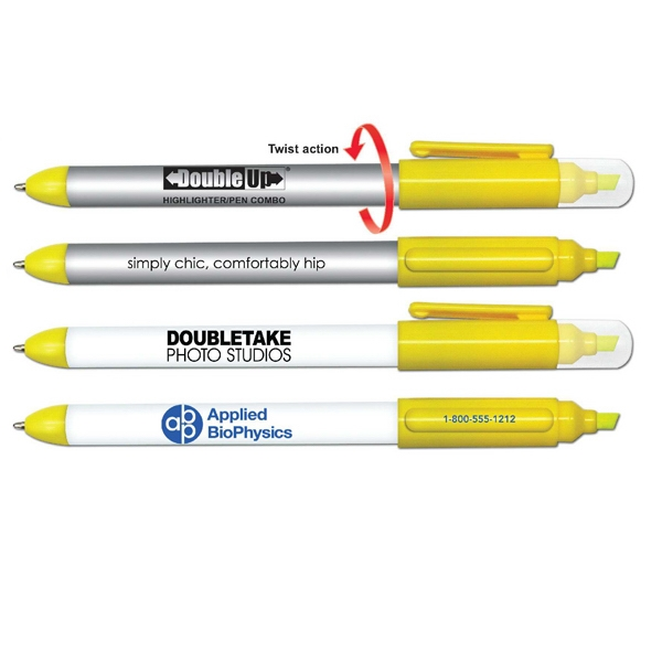 Double Up (r) - Double Ended Yellow Highlighter And Twist Action Ballpoint Pen Photo