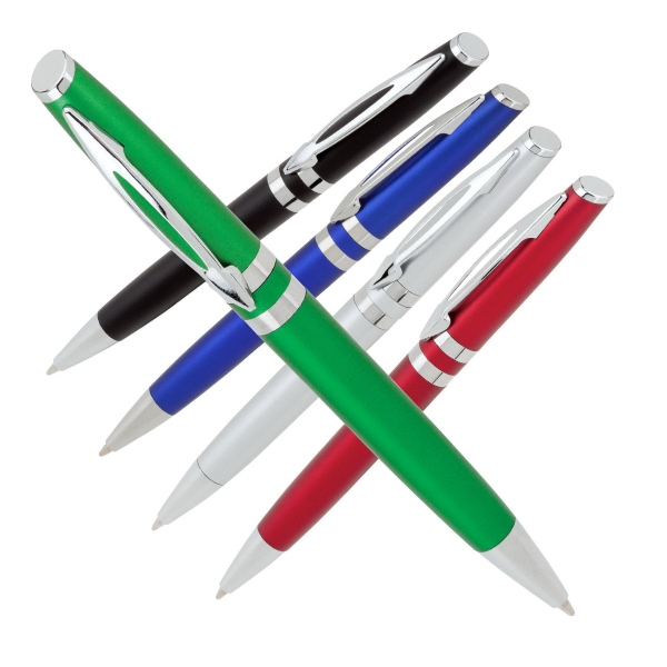 Twist Action Ballpoint Pen With Colored Satin Finish And Split Clip Design Photo