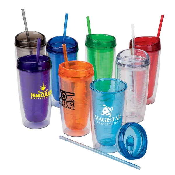 16 Oz Tumbler With Matching Straw And Slider Lid Photo