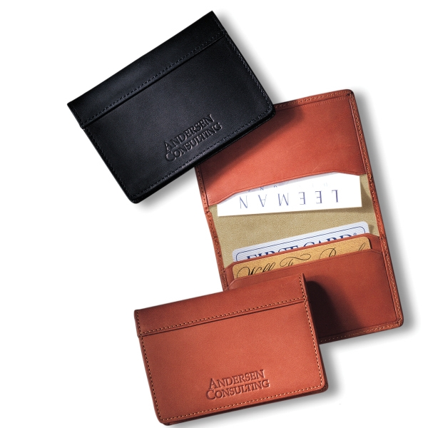 Fire Island Leeman New York Collection - Sueded Full-grain Leather - Sueded Full Grain Leather Business Card Case With Turned Edge Perimeter Stitching Photo