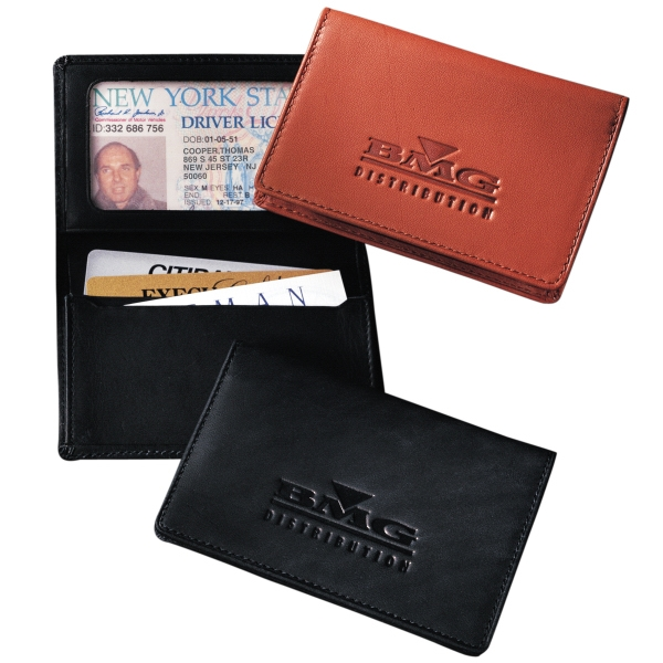 Jersey Leeman New York Collection - Identification Card Case With Fold Over Mesh Window And Gusseted Pocket Photo