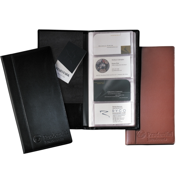 Greenwich Leeman New York Collection - Cowhide Leather Business Card File Organizer With Vinyl Pockets Photo