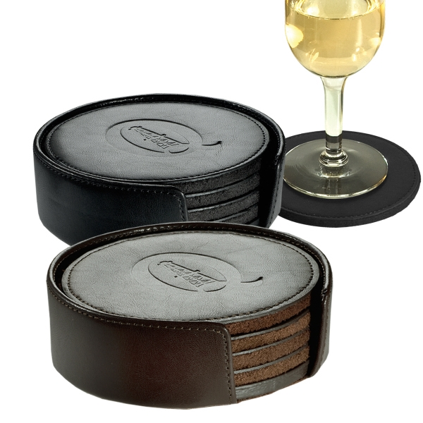 "Lincoln Center Leeman New York Collection - Fine Leather Round Coaster Set, 4 1/8"" X 1 1/4"" Photo"
