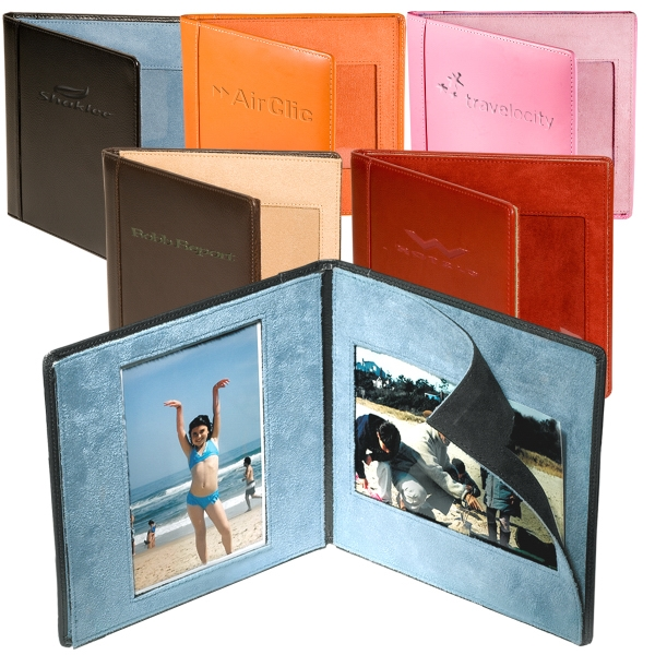 "Hampton Leeman New York Collection - Top-grain Genuine Leather Magnetic Folding Frame, Holds Two 4"" X 6"" Photos Photo"