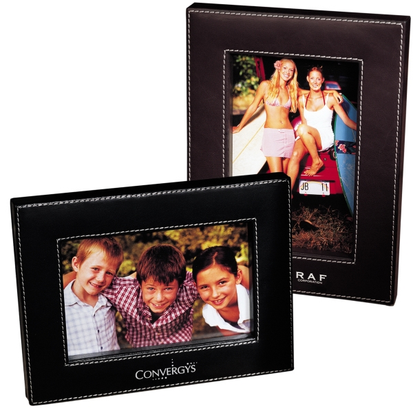 Madison Leeman New York Collection - Upscale Leather Frame With Plush Easel Stand And Silver Contrast Stitching Photo