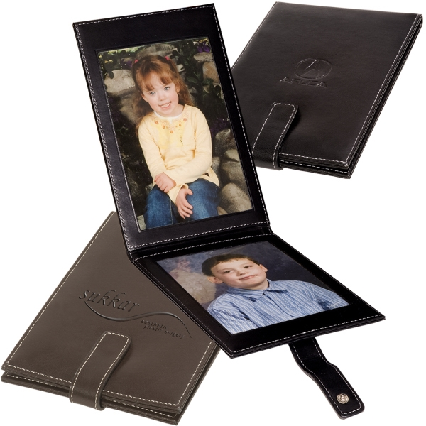 "Imagine Leeman New York Collection - Fold-over Easel Leather Frame With Contrast Stitching, Holds Two 4"" X 6"" Portraits Photo"