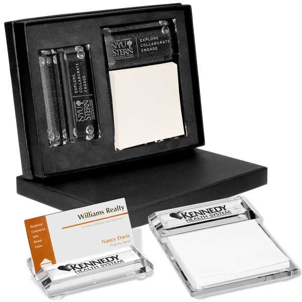 Barclay Leeman New York Collection - Glass Gift Set Includes Business Card Holder And Message Pad Holder Photo