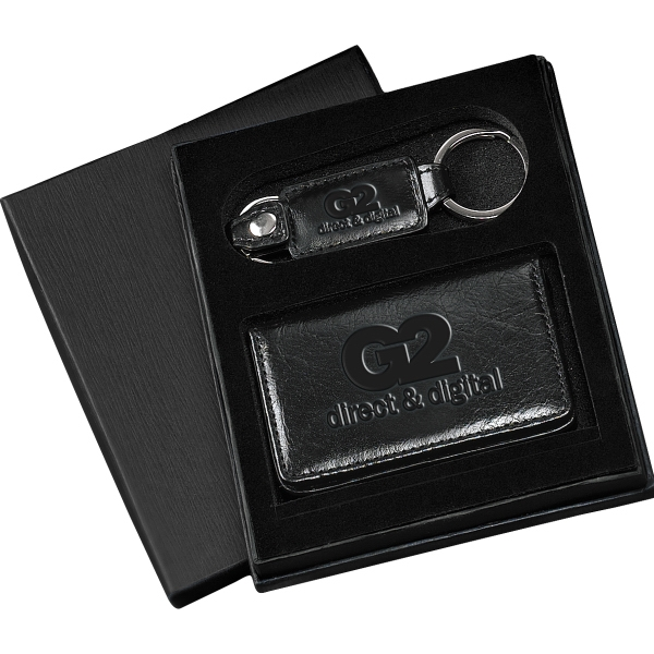 Barclay Leeman New York Collection - Glazed Cowhide Leather Gift Set With Magnetic Card Case And Valet Key Fob Photo