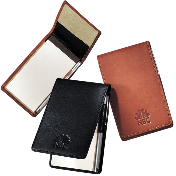 Helmsley Leeman New York Collection - Sueded Full-grain Leather - Sueded Full Grain Leather Memo Pad Holder With Pen And Notepad Photo