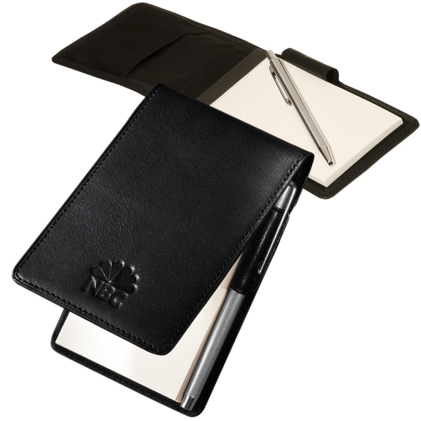 Helmsley Leeman New York Collection - Cowhide - Sueded Full Grain Leather Memo Pad Holder With Pen And Notepad Photo