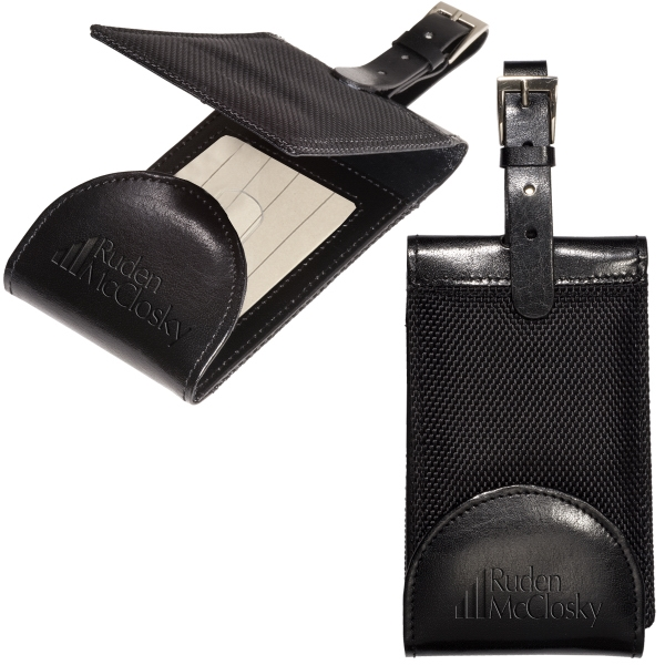 Manhasset Leeman New York Collection - Luggage Tag Made Of Ballistic Nylon With Cowhide Leather Accents Photo