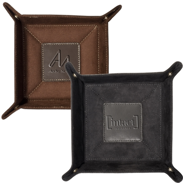 Grand Street Leeman New York Collection - Leather Accessory Tray With Soft Suede Lining To Protect Jewelry, Watch And Keys Photo
