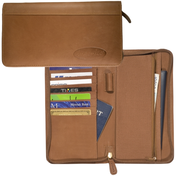 Hoboken Leeman New York Collection - Zip-around Document Holder With Three Full Width Pockets And Eight Slots Photo