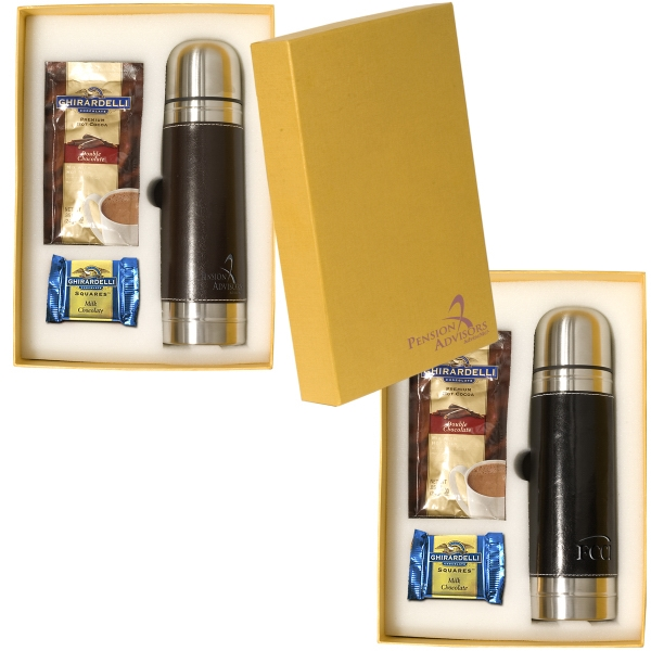 Ghirardelli (r) Leeman New York Collection - Gift Set With Leather Wrapped Thermos, 5 Packets Of Hot Cocoa Mix And Chocolate Photo