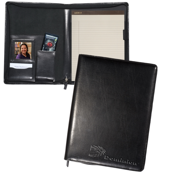 Leeman New York Collection - Zippered Magnetic Cowhide Leather Portfolio Photo