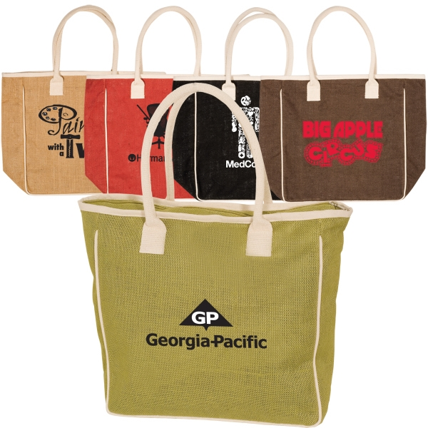 Eco-responsible (tm) Seville - Jute And Cotton Tote Bag With Large Zippered Main Compartment Photo