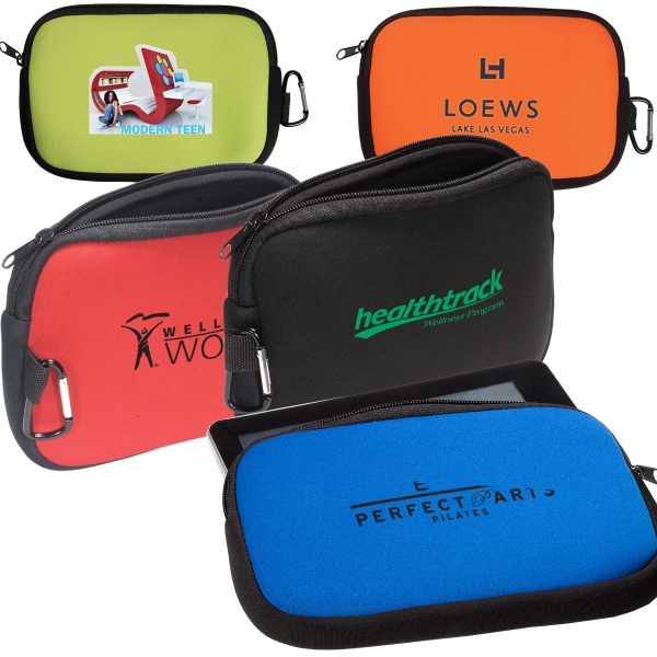 Logotec - Neoprene Accessory Pouch With Zippered Closure And Carabiner Photo