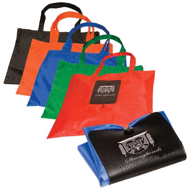 Fold-a-tote - 190t Polyester Tote Folds Into A Pvc Packet, Elastic Button-loop Closure. Closeout Photo