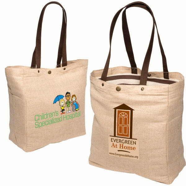 Eco-responsible (tm) Snap-it - Jute Tote With Cotton Lining And Snap-button Closure Photo
