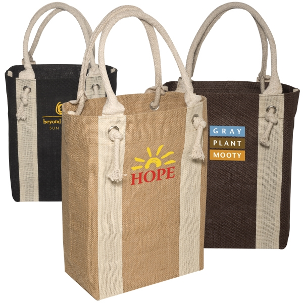 Eco-responsible (tm) Yachter's - Jute Fabric Tote With Cotton Rope Handles And Metal Grommets Photo